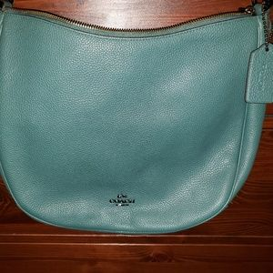 COACH Leather Sutton Hobo Dark Turquoise/Silver